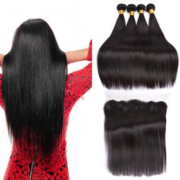brazillian part closures UK - Brazillian Straight Hair Weaves With Full Lace Frontal Closure Free Middle 3 Part 13x4 Lace Frontal With Virgin Human Hair Bundles 4Pcs Lot