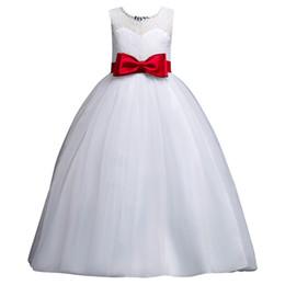 2018 princesa barata vestidos de niña de las flores blancas con arco vestido de comunión de los niños vestidos de desgaste de cumpleaños MC1701