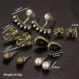 white elephant gifts 2019 - 6 pairs sets Elephant Earrings Set Black Water Stud Earrings For Women Vintage Cute Simulated Pearl Bow Jewelry Gift dis