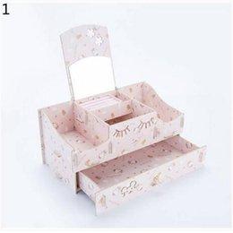 Hot Sales Cosmetic Makeup DIY Jewelry Grid Mirror Drawer Type Wood&PP Storage Box Storage Boxes & Bins