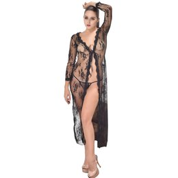 Robes sex online shopping - Black Lace Long Robe Sexy Lingerie Women Transparent Lingerie Sexy Hot Erotic Plus Size Cardigan Nightgown Sex Porno Sleepwear S927