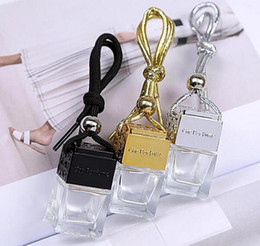 100PCS Square Shape Glass Car Perfume Bottles Pendant 6ml Perfume Empty Hanging Car Diffuser Bottle Hot USA UK Market from vapor wax box suppliers