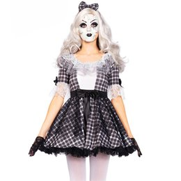Wholesale high quality Halloween Plaid circus clown Costume corpse bride Cosplay dress Zombie Vampire princess Day of the Dead clothing