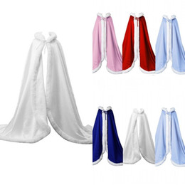 Blue Cotton Cloak Australia - 2018 Winter Bridal Cape Faux Fur Christmas Cloaks Jackets Hooded For Winter Wedding Bridal Wraps For Wedding Dresses Sweep Train F15