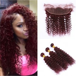 Discount hair weave red curly - #99J Burgundy 13x4 Ear to Ear Full Lace Frontal Closure With Wine Red Deep Wave Curly Virgin Malaysian Human Hair Bundle