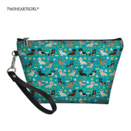 $enCountryForm.capitalKeyWord Australia - wholesale Cute Dachshund Dog Travel Cosmetic Bag for Make Up Small Pu Leather Women Makeup Case Wash Neceser Toiletry Bag