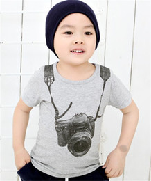 3ab37c42aab2 summer children boy kids camera short sleeve tops O-neck T-shirt tees  clothes fit for baby boys 1-6 years old