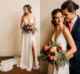 $enCountryForm.capitalKeyWord Australia - 2018 New Chiffon Beach Wedding Dresses A Line Sexy High Split Backless V Neck Vintage Lace Beading Cheap Boho Plus Size Bridal Gowns
