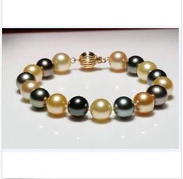 Pearl Channel Australia - huge 10-11mm AAA Tahitian black green gold multicolor pearl bracelet 7.5-8inch