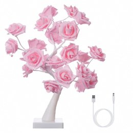 roses table lamp 2019 - Table Lamp Adjustable Rose Flower Desk Lamp|1.64ft Pink Tree Light for Wedding Living Room Bedroom Party Home Decor with