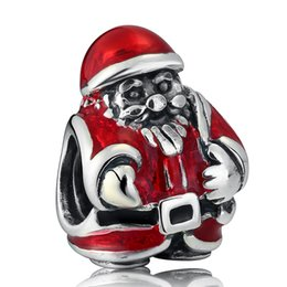 $enCountryForm.capitalKeyWord Canada - New Real 925 Sterling Silver Red Enamel Christmas Santa Claus Charms DIY Jewelry Making Fits European Style Charm Bracelets HB416