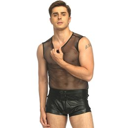 $enCountryForm.capitalKeyWord NZ - Gay Fetish Lingerie for Men Undershirt See Through Fishnet Shirt Sleeveless Hollow Out Seamless Underwear Male Sleepwear Tank W930952