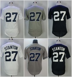 05134b7d415 2018 New Hottest 27 Giancarlo Stanton Men Baseball Jerseys Uniforms Shirt  Sports Breathable Home Blue Grey White cheap baseball uniform shirt