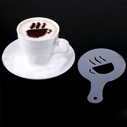 $enCountryForm.capitalKeyWord NZ - 16Pcs Coffee Milk Gift Cupcake Stencil Template Mold Coffee Barista Cappuccino Template Strew Pad Duster Spray mold Tool