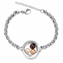 Food channel online shopping - Newest Fit mm pearl L Stainless steel freshwater pearl jewelry bracelet floating locket bracelet