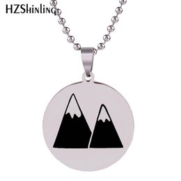 ball chain craft NZ - 2018 New Mountain Necklace Art Hand Craft Stainless Steel Pendant Round Necklaces Silver Jewelry Ball Chain