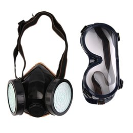 Painting Faces Australia - New Protection Filter Dual Gas Mask Chemical Gas Anti Dust Paint Respirator Face Mask with Goggles Industrial Safety Wholesale