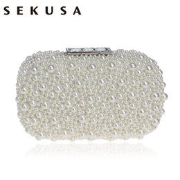 Pearl Clutch Bags Canada - SEKUSA Beaded Women Evening Bag Crystal Party Evening Clutch Bag Pearl Shoulder Small Phone Key Holder Box