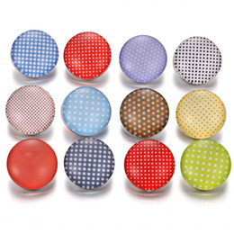 Noosa Chunk Jewelry Wholesale Australia - 2018 New Snaps Jewelry Circle Round 18mm Glass Snap Button Fit leather Snap Bracelet Watches Women Men Noosa Chunks Button Jewelry