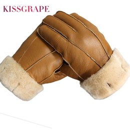men fur leather gloves NZ - New Men Winter Gloves Warm Genuine Sheep Fur Gloves for Men Thermal Goat Fur Cashmere Real Leather Leather Snow Gloves Manual S1025