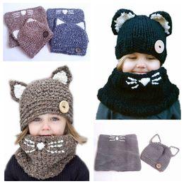 2fbac5b778d Kids Knitted Cap Scarf Set 2pcs Hat Cat Ears Wool Crochet Cap Children  Autumn Winter Baby Girls boys NNA778 6pcs