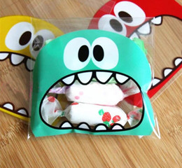 cute wedding package 2019 - 100Pcs Cute Big Teech Mouth Monster Self-adhesive Plastic Bag Wedding Birthday Cookie Candy Gift Packaging Bags OPP disc