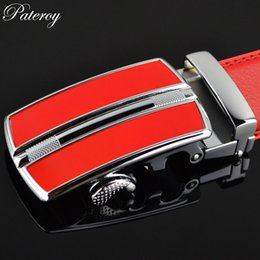 men red belt NZ - PATEROY Leather Belt Men Designer Belts Men High Quality Red automatic Buckle Cinto Cinturones Hombre Ceinture Homme Mens Belts
