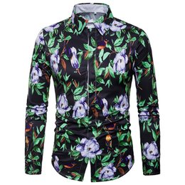 Chinese  New Mens Long Sleeved Dress Shirts Men's Business Casual Cotton Hot Print Flora Figure Open Stitch Dress Shirts Mens tops clothing manufacturers