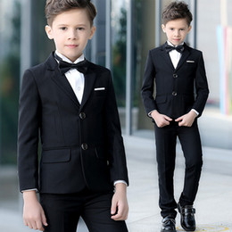 New model paNt boys online shopping - New Latest Full Black Formal Boys Party Suits Two Button Kids Clothing Set Jacket Pant Vest Wedding Formal Wear Tuxedo