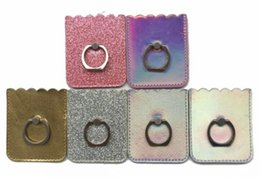 Cheap Business Card Holders Wholesale Australia - Cheap Fashion Glett Leather Business Credit Name Id Card Holder Bright gradient phone ring holder finger PU Leather handphone ring holder