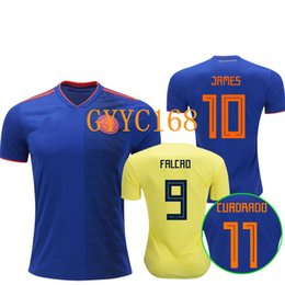 Thai QUALITY Colombia 2018 World Cup home yellow soccer jersey 2018 away  Blue FALCAO JAMES CUADRADO TEO BACCA football shirt camisetas 62305402b