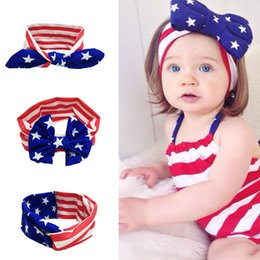 american flag fashion accessories Canada - New Fashion Baby American Flag Headband Rabbit Ears Bow Knot Headband National Day Hair Accessory Cross Hairband