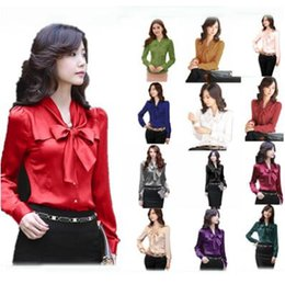 22d47f378076e2 13 Colors Women Fashion Bow Tie Ruffles Top Long Sleeve Casual Blouse Solid  Color Shirts Retro Stand Collar Blouses CCA8764 50pcs
