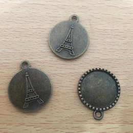 $enCountryForm.capitalKeyWord Australia - Jewelry Finding Alloy antique bronze Round Eiffel Tower Vintage DIY Pendant Charm Bezels Tray 22MM fit Cabochon  Picture Cameo