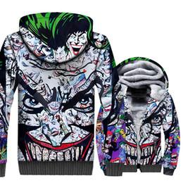 105120a39d47d joker hoodie 2019 - Villains Joker 3D Print Hoodie Men Arkham Sweatshirt  Winter Thick Fleece Warm