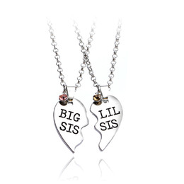aaa34cfa10 EngravEd couplEs nEcklacEs online shopping - 2pcs set Heart Big SIS LIL SIS  Necklace For Handstamped