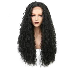 $enCountryForm.capitalKeyWord UK - Long Natural Wave Synthetic Lace Front Wig Black Afro Women's Wig Curly Wigs for Women Heat Resistant Black Half Hand Tied 26 Inch