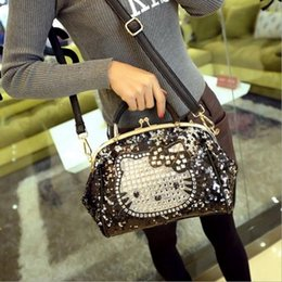 eaac743422 Luxury famous brand women female sequined bags leather hello kitty handbags  shoulder tote bolsos mujer de marca sac de marque 30