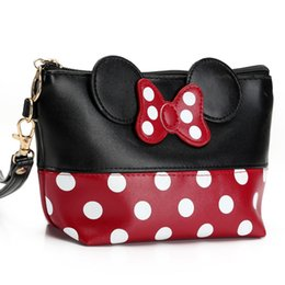 travel toiletry bag ladies UK - Lady Beautiful Bowknot Cosmetic Toiletry Bag PU Clutch Makeup Dot Handbag Mouse Ear Organizer Carry on Pouch Case For Travel Trip Bag