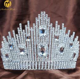 Discount fantastic hair - Fantastic Wedding Bridal Tiara Miss Beauty Pageant Crown Clear Rhinestones Crystals Large Headband Hair Jewelry