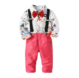 Chinese  boys sets 2018 Baby kids 4 Pieces sets Cotton cartoon long sleeved red bowtie shirt + red pants kids clothing boys gentleman sets free ship manufacturers