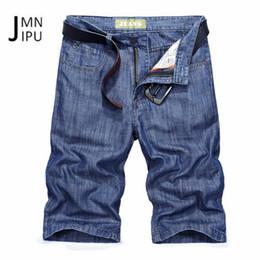 4b8bb06a151 JI PU 2018 New Design Mid Waist Denim Knee Length Jeans