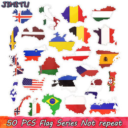 Wholesale 50 Waterproof Flag Stickers United States United Kingdom Canada France Country Map Sticker DIY Home Baggage Scrapbook Home Decor Sticker