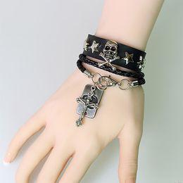 12 Teile / los Männer Silber Farbe Skeleton Anhänger Charme Lederarmbänder Multilayer Kreuz Erklärung Armband Kette Frauen Schmuck