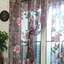 China Window Curtains Durable Floral Tulle Voile Curtain Sheer Panel Drape Scarfs Elegant Modern Luxury Home Decor Retro Rose Window Drape Valance suppliers