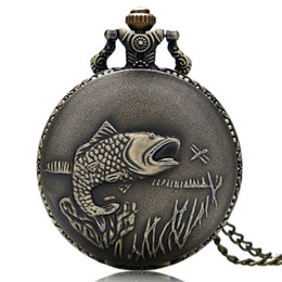 $enCountryForm.capitalKeyWord UK - Antique Pocket Watch Vintage Fish Solid Carving Special Fishing Lovers Gifts for Men Women Relogio De Bolso With Necklace