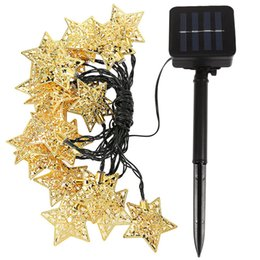 $enCountryForm.capitalKeyWord UK - 6 Meters 30 LED WROUGHT IRON Five-pointed Star Modeling Christmas Courtyard Solar Energy Coloured Lights Outdoors Decoration Lamp String