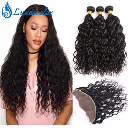 $enCountryForm.capitalKeyWord NZ - Water Wave 3 Bundles With 13x4 Lace Frontal Brazilian Virgin Hair Bundles With Closure Peruvian Human Hair Weave Bundles Natural Color