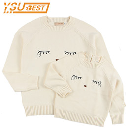 $enCountryForm.capitalKeyWord UK - New 2018 Family Matching Outfits Sweaters Mother and Daughter Clothes White Eyelash Sweaters for Mom and Kids Cardigan Sweaters