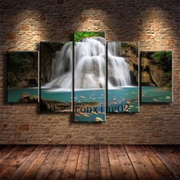 waterfalls paintings hd NZ - Waterfall -3,5 Pieces Home Decor HD Printed Modern Art Painting on Canvas (Unframed Framed)